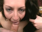 dark haired babe with sexy skin sucks cock all day long
