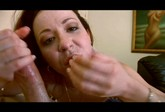 nasty redhead gagging on cock and eating jizz