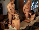 Summer Night and Roxy get fucked in 4-way gangbang