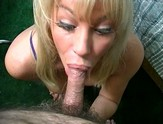 Mature blonde eagerly sucks on a chubby cock.