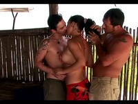 Anal Group Sex At The Beach Hut