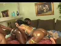 Oiled Up Black Booty Threesome