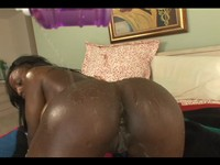 Huge Tit Ebony Babe Oiled Up and Ass Fucked