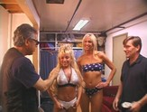Two blonde fluff sluts give blowjobs backstage