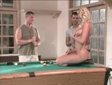 Blonde gets fuck by two guys over a pool table