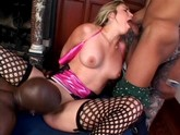 Sexy blonde rubs her pussy through hot pink panties