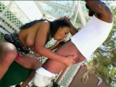 Stevie wonder is ready to bang a black bitch with great tits outdoors