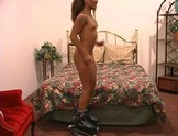 Small titted Lyla Lei jumps in high heel boots to bounce boobs