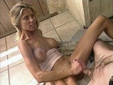 Milf Takes load all over leg