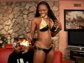 Black slut plays with huge black dick