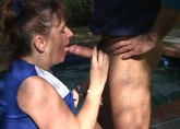 Chubby cheerleader sucking and fucking outdoors