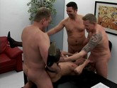 Unsatisfied lady fucking with five hot males