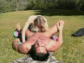 Hot skinny blonde Jasmine Klein fucked outdoors