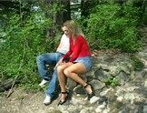 Amazing blonde chick fucked in a park