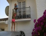 Balcony blowjob