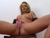 Tattooed Slut Fingers her Pussy