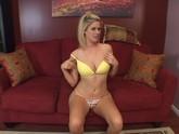 Tall hot blonde orgasms during solo masturbation clip
