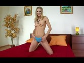 Sexy slim blonde toy masturbation