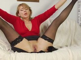 Blonde Milf in Stockings Loves Younger Guys