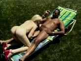 Big black cock discovers white girl getting a tan