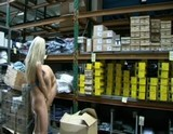 Cute blonde giving hard blowjob in shop
