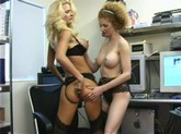 Busty Blonde Video Editor Gets Anally Licked By Red-headed Lesbian