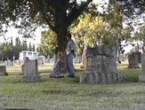 Horny blonde fucking in a cemetery