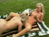 Picnic blondes eating each other instead of their lunch