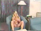Blonde with amazing body masturbating