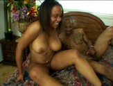 Ebony girl Kandi Kream riding big black pole
