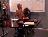 Blonde teen visits an office where she gets more than she begs