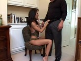 Dark haired woman goes all out to giver her man some oral delight