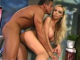 Big titted blonde Nikki Benz feels up his leather trousers