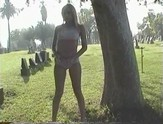 Blonde solo girl gets off smoking cigarettes and pleasuring herself in a cemetery