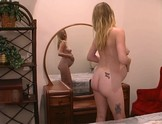 Preggo Blonde platys with dildo