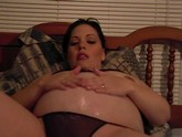 Horny pregnant whore playing with her toy