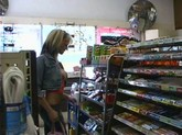 A Big Titted Blonde In  A Tube top Shows Off Her Bare Boobs In A Convenience Store