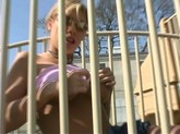 Blonde teenage naughty flashes her big tits and panties at the playpark!