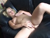 Shaved blonde in pigtails play with her hot dripping pussy