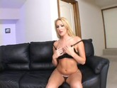 Jordan Style masturbates on her black couch