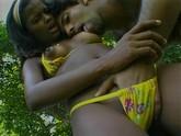 """Black bikini babe in the outdoors, teases her man"""
