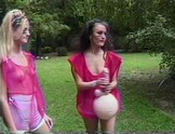 Three sporty lesbians fuck and suck each other with an array of toys.