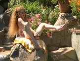 Crazy redhead Annie Body squirting outdoors