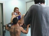 redhead cheerleader rides and gets a facial
