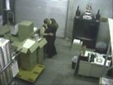 Topless blow job on security cam at work.
