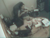 security cam catches a girl looking at porn