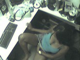 Hidden cam catches hot ebony girl fingering herself at work