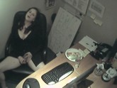 Big titted secretary caught on camera giving herself a quickie on her lunch break