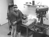 Young couple convert workshop into bedroom. Hot action captured in security cam.