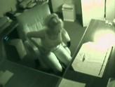 Security Camera Captures Naked Office Girl and Her Dildo